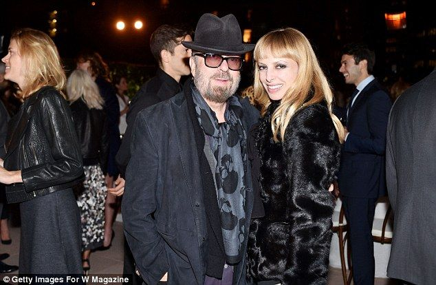 Loved-up: Eurythmics Dave Stewart and his wife Anoushka beamed at the bash...