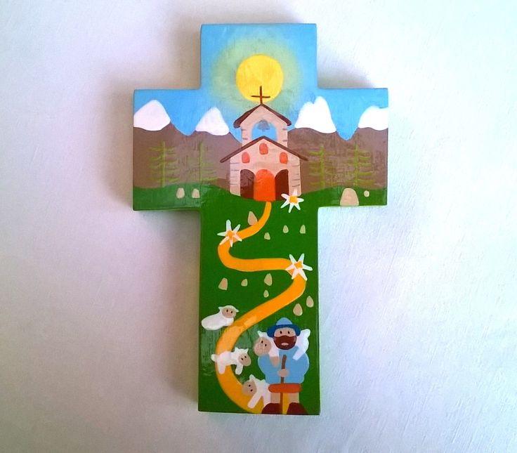 Croix en bois peint motifs naïfs, vernie grand modèle : Décorations murales par des-l-aube