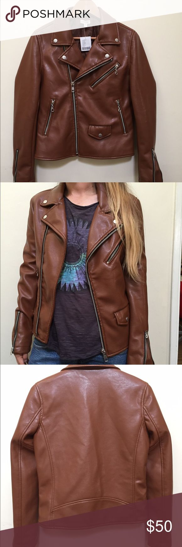 Urban Outfitters Vegan Motorcycle Jacket Perfect for fall! Hipster cognac brown vegan leather jacket from Urban Outfitters! Brand: Silence + Noise; Size: Small Urban Outfitters Jackets & Coats