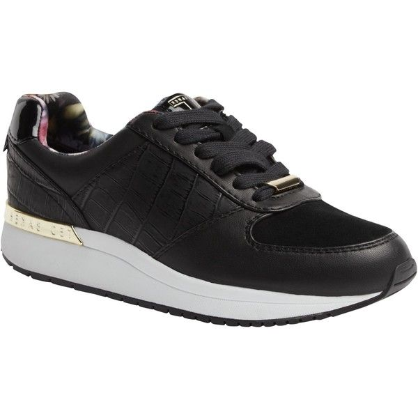 Ted Baker Lwoire Lace Up Trainers, Black (£95) ❤ liked on Polyvore featuring shoes, sneakers, black flat sneakers, black flat shoes, black trainers, canvas lace up sneakers and black sneakers