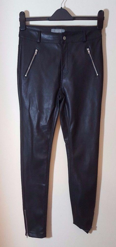 Oasis Size 8 Black Faux Leather PVC PU Jeans Trousers Zips Skinny Leg Slim Goth #Oasis #SlimSkinny