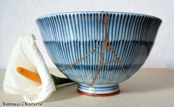 Ciotola giapponese Kintsugi tecnica originale porcellana di KintsugiArteCeramica su Etsy