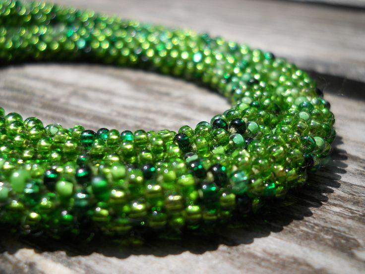 Green Bracelet Or Necklace Melange Necklace Wrap Bracelet Green Festival Jewelry Bead Crochet Lime Grass Bottle Olive Green Mix Colors by goodhandSakura on Etsy