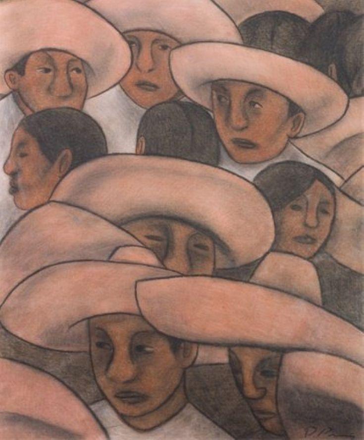 Diego Rivera Men in Sombreros Mural Study