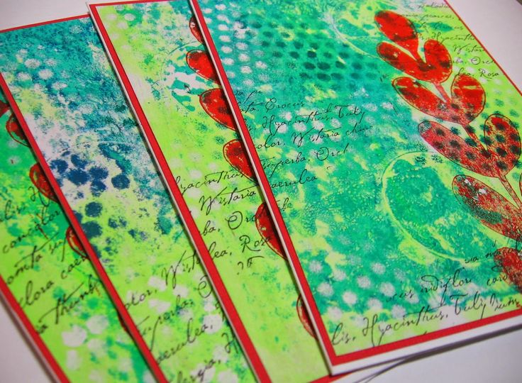handmade by Jessica - Gelli printed notecards. It's fun to make cards from Gelli prints, so easy and different.