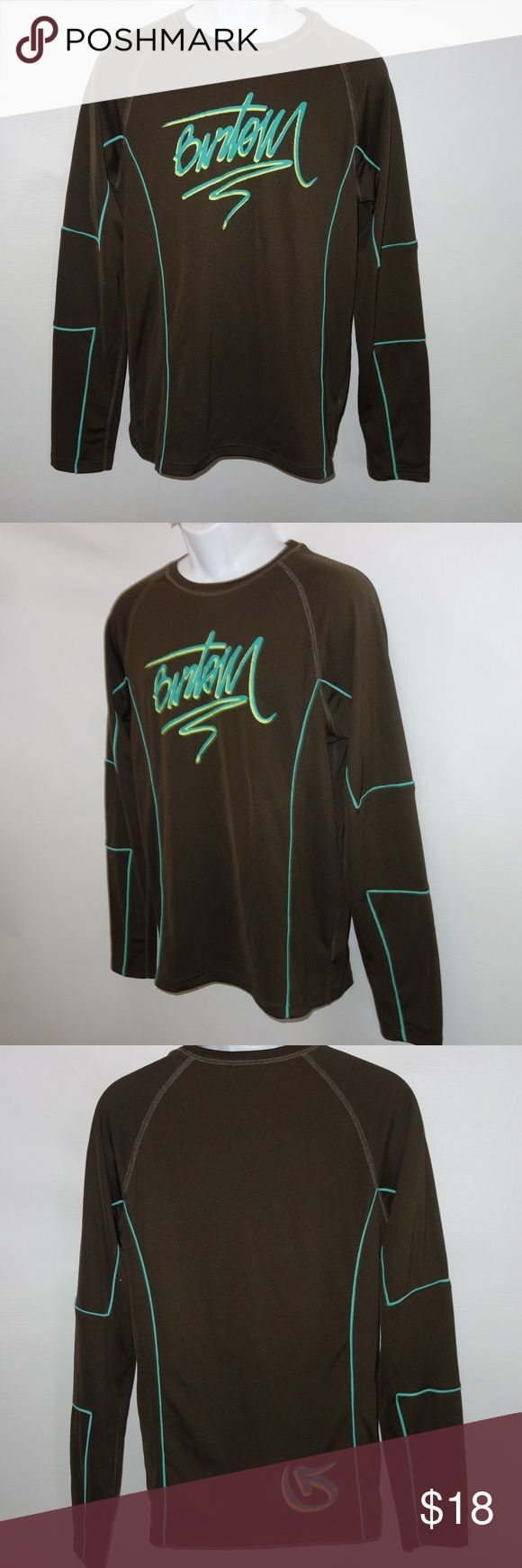 "Burton Men M Base layer Casual Shirt Brown Burton Men M Baselayer Casual Shirt Brown Long Sleeve Logo Snowboarding b61 Preowned in great condition No rips, tears or stains Looks like new Rich brown with bright green Logo on the chest Length from shoulder to hem is 28"" Chest from under arm to under arm is 22"" Great as a base layer or a shirt I have other items like this listed Thank you for looking! Burton Shirts"