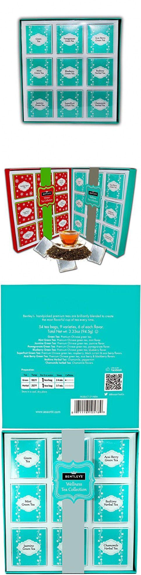 The Boston Tea Company Premium Teas Variety Sampler Pack for Green & Herbal 6 of Each Flavor 9 Varieties (54-Count)