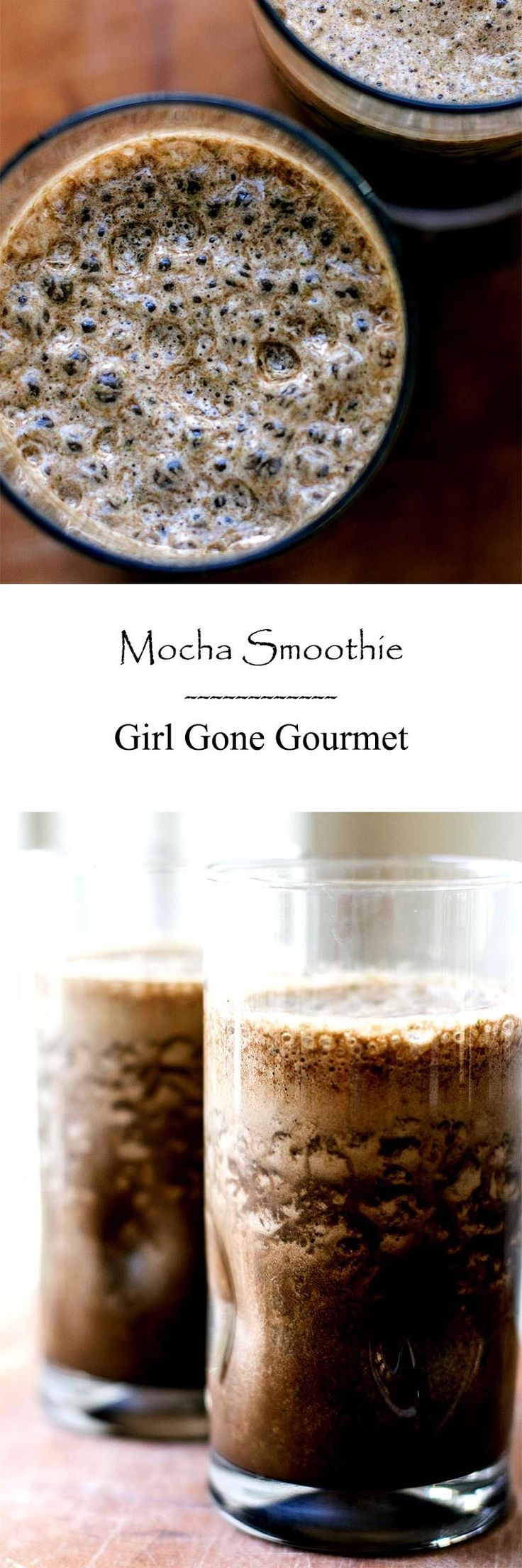 A chocolaty coffee smoothie with a secret healthy twist! from www.girlgonegourmet.com