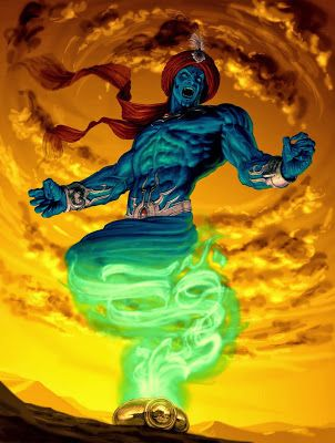 "Djinn or Jinn or djinn are supernatural creatures in Islamic mythology as well as pre-Islamic Arabian mythology. They inhabit an unseen world in dimensions beyond the visible universe of humans. The Quran says that the jinn are made of a smokeless and ""scorching fire"" but are also physical in nature, being able to interfere physically with people and objects and likewise be acted upon."