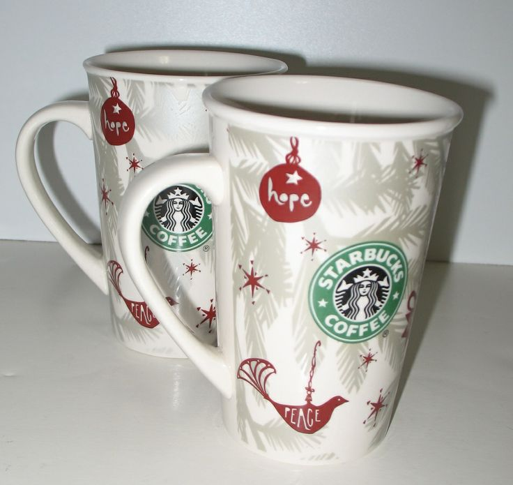 Handsome pair of Starbucks Christmas mugs from 2010. These ones are white and feature silver tree branches and Christmas tree decorations that read Peace and Hope. They also feature the iconic Starbucks mermaid.  #starbucks #christmasmugs #ck
