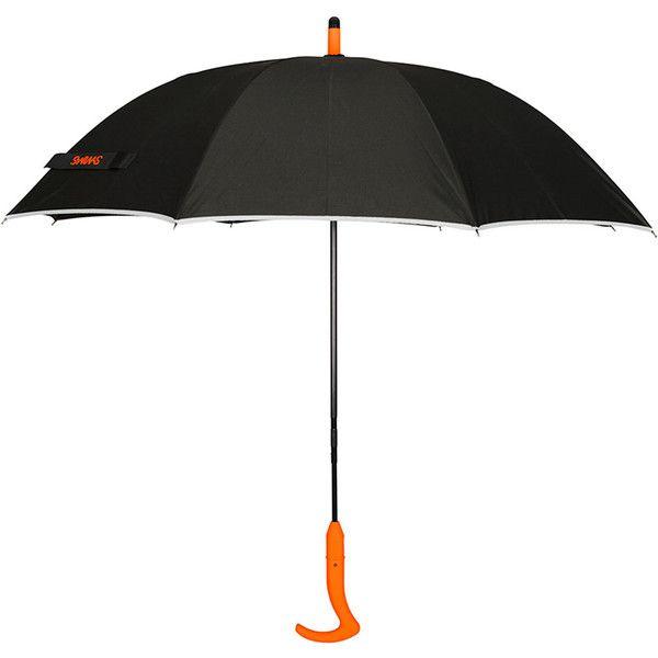 Swims Long Handle Umbrella ($73) ❤ liked on Polyvore featuring accessories, umbrellas, black, black umbrella and logo umbrellas