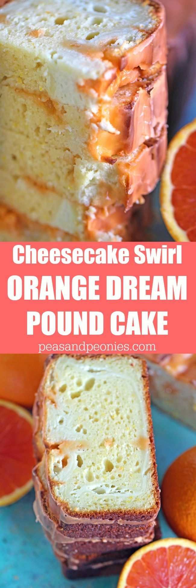 Dreamy Orange Pound Cake with Orange Glaze is rich and flavorful, with a beautiful orange scent and a creamy orange flavored cheesecake swirl.