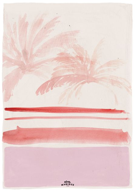 HOTEL MAGIQUE Pink palm leaves art print. Shop online HOTELMAGIQUE.COM