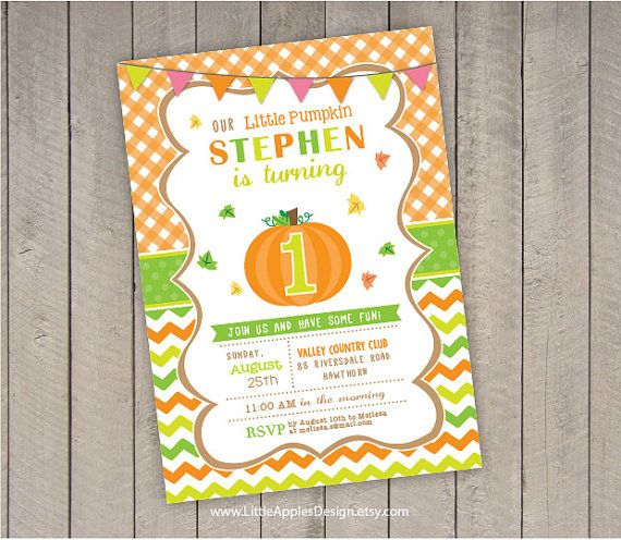 Pumpkin Invite / Pumpkin Invitation / Pumpkin Birthday Invitation / Little Pumpkin Invitation / Pumpkin Printable / Pumpkin Party by LittleApplesDesign