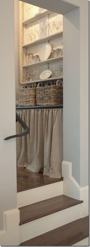 Butler pantry. Skirt, baskets, custom shelf for glasses.  Ginger Barber - Cote de Texas