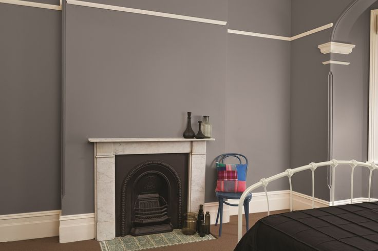 Deep greys couple with Victorian interiors create a perfect contrast against architraves and picture rails. #taubmanscolour #bedroom #ironage