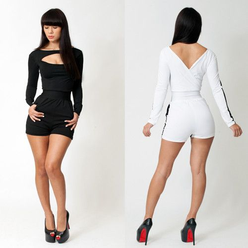 New 2014 Fashion Bandage Dress Women Sexy Long Sleeve White and Black Patchwork Celebrity Bodycon Bandage Jumpsuit Free Shipping