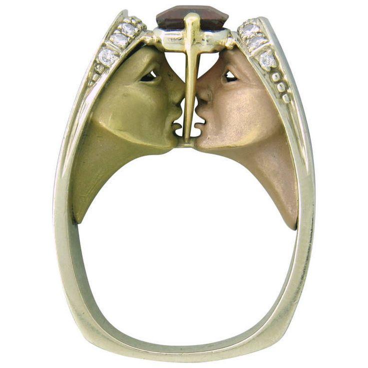 Ornate Lapis Garnet Diamond 14K 18K Gold Ring