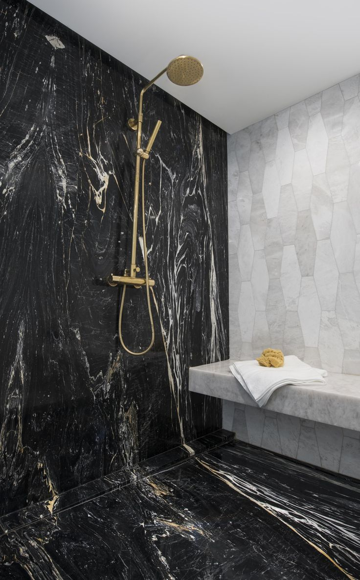 Zebrino Black marble shower with gold plumbing. | Bathroom ...