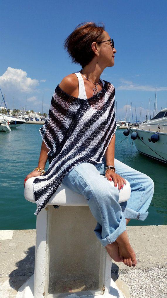 Nautical knit top navy striped poncho women's poncho by EstherTg