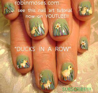 snoopy nail art and woodstock nail art, patchwork nail art, patchwork quilt nail, hippie nail art, baby ducks in a row nail art, easter duck nail art, easter duck nail, tutorial designs | Nail Art Ideas