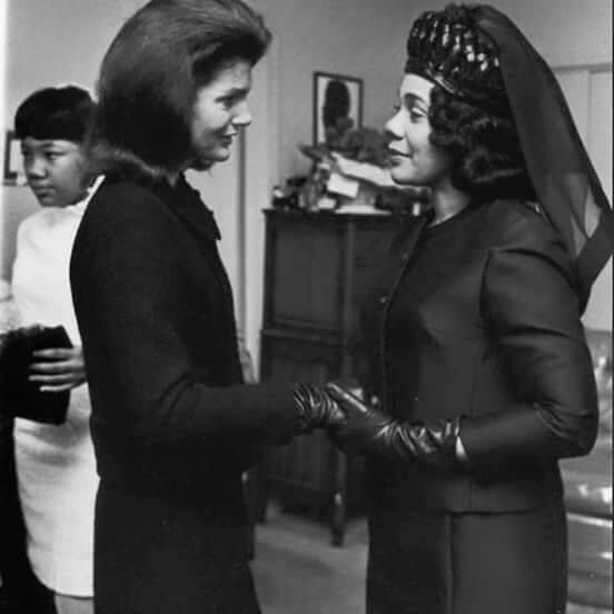 Former first lady Jackie Kennedy (whose husband President John F. Kennedy had been assassinated in and Coretta Scott King at Martin Luther King Jr.'s 1968 ...