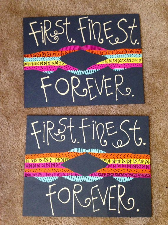 Sorority Canvas. Alpha Delta Pi is shown. First, Finest, Forever with hand gesture. on Etsy, $17.99