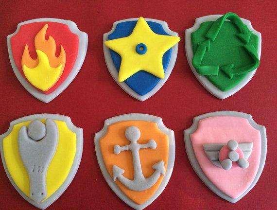 Edible Fondant Paw Patrol cake / Cupcake toppers by azucarart