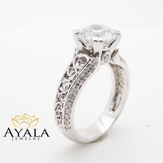 Moissanite anello di fidanzamento 8mm per sempre classico Moissanite anelli unici 14k oro bianco anello di fidanzamento