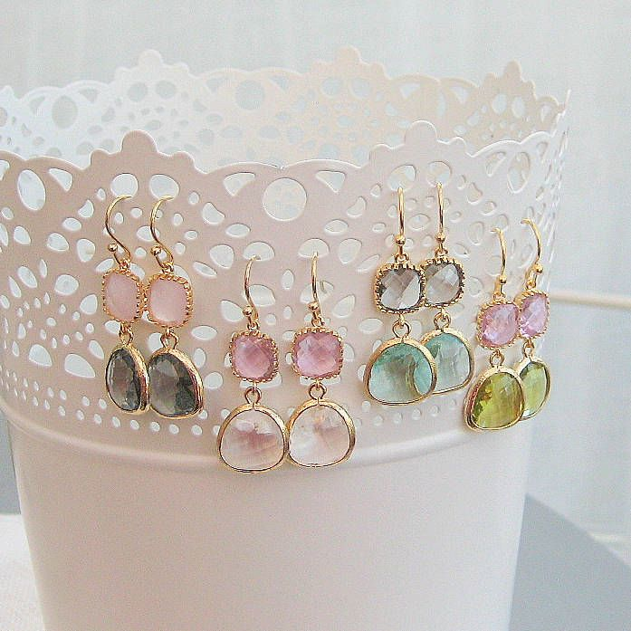 Esme Earrings, the pink & the green are lovely