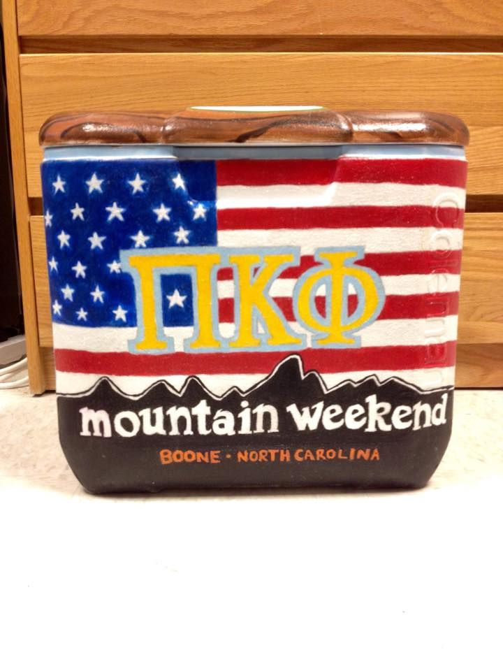 perfect Mountain Weekend cooler!! mountains over the american flag Pi Kapp Pi Kappa Phi