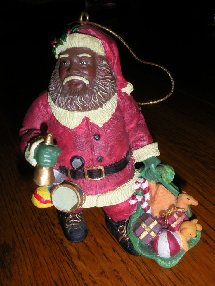 Small Resin Black Santa Clause Ornament | Black Santa ...