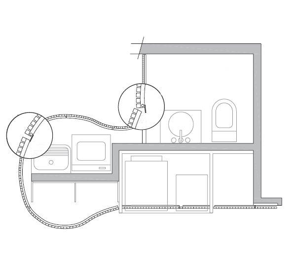 6 lições para um novo loft - Casa Uma chapa de 1,5 mm fica atrás da porta do lavabo e mantém a privacidade. A fixação no ripado foi executada com fita VHB (3m). Cada ripa de aço corten mede 2 x 2 cm, e o espaçamento entre elas tem 1,5 cm. Projeto de Atria Arquitetos.