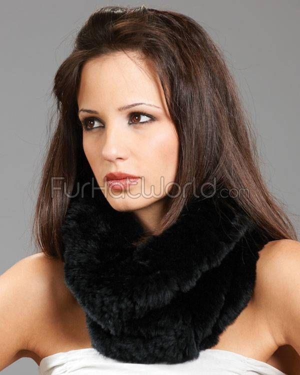 Knitted Rex Rabbit Fur Cowl / Snood Scarf - Black