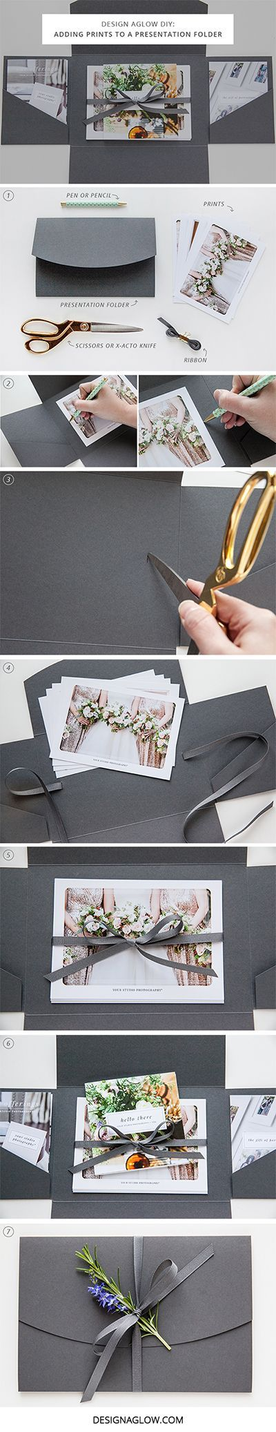 Adding Prints to a Presentation Folder / http://www.himisspuff.com/diy-wedding-invitations/18/