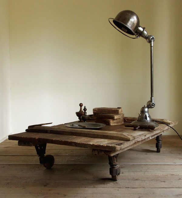 salvaged piece of wood with wheels. perfect.