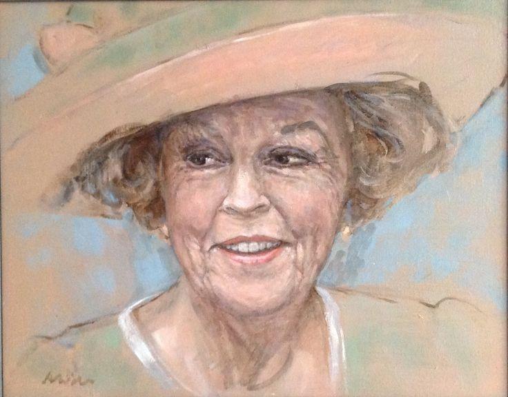 Schilderij Beatrix met hoed door Alide Bouwsema