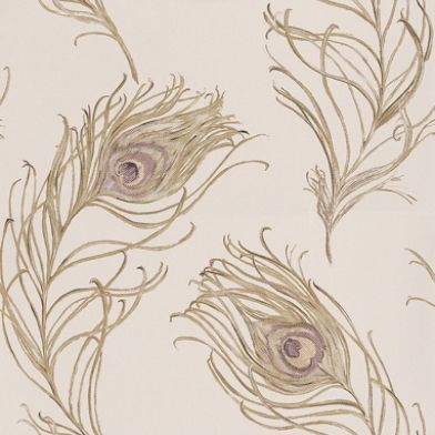 Peacock Heather (1938/153) - Prestigious Wallpapers - A non-woven, paste the wall design with a peacock feather motif, drawn in delicate, subtly coloured detail.  Shown here in Heather purple. Other colours available. Please request sample for true colour match.