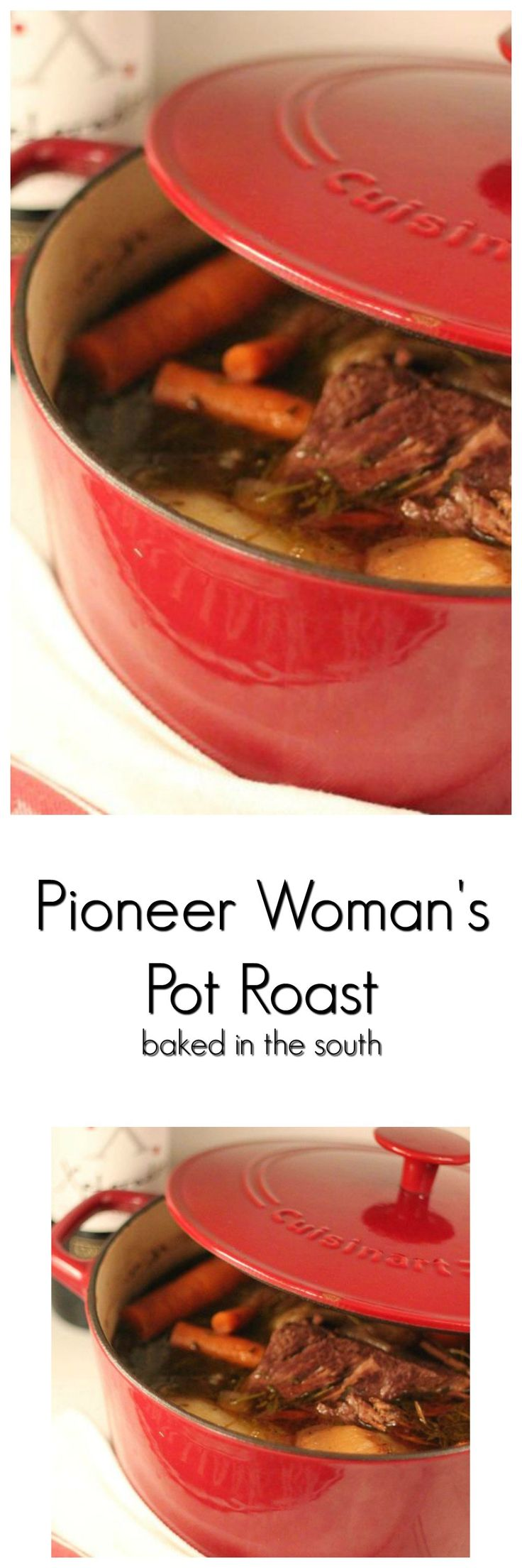 Pioneer Woman's Perfect Pot Roast- Add Large spoonful of tomato paste and orange marmalade to sauce and potatoes and mushrooms to vegetables