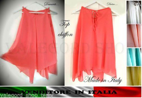 Top-canotta-blusa-CHIFFON-ASIMMETRICA-Made-in-Italy-pieghe-corallo-giallo-rosa