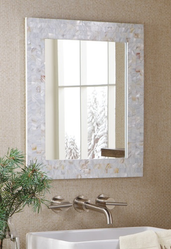 Mother of Pearl Mosiac Tiles Accent Mirror White Bathroom Wall Foyer Hall | love that idea :-)