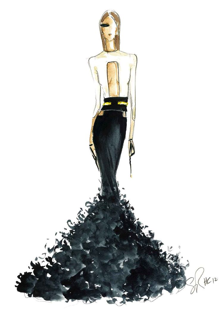 Fashion illustration - dramatic black & white gown; fashion sketch