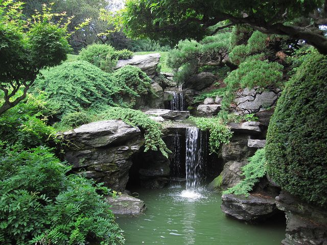 """The Japanese Hill-and-Pond Garden is one of the oldest and most visited Japanese-inspired gardens outside Japan. It is a blend of the ancient hill-and-pond style and the more recent stroll-garden style, in which various landscape features are gradually revealed along winding paths"""" Brooklyn Bot. Gardens"""