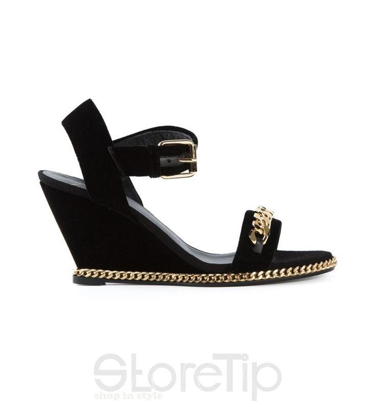 Giuseppe Zanotti Design Gold Chain Wedge Sandals - StoreTip