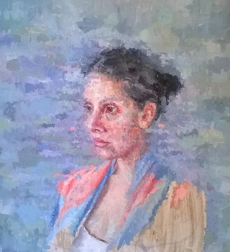 """Morning Sitting - Self Portrait"" - Oil on Board - Kim Woodman"