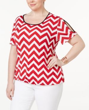 Ny Collection Plus Size Chevron Cold-Shoulder Top - Red 1X