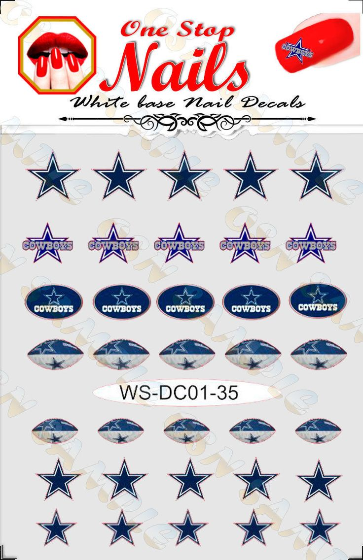Dallas Cowboys Vinyl Peel & Stick Nail Art Decals pre-cut white BG WS-DC01-35