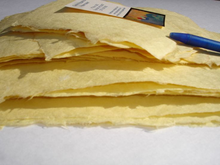 Ten sheets of 3 x 5 inch sunny yellow handmade abaca paper by papermaker on Etsy