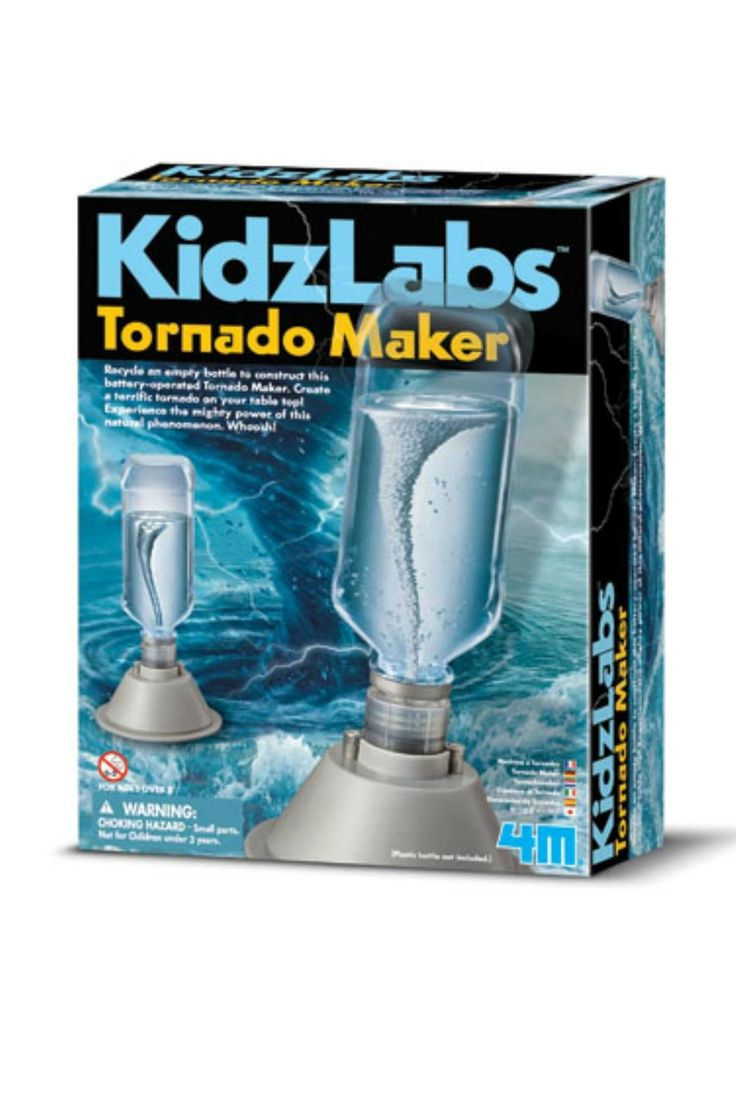 Create a terrific tornado on your table top! Experience the mighty power of this natural phenomenon. Whoosh! Contains base, battery cover, base cover, bottle holder, motor with water-resistant ring installed, propeller, terminal caps, screws, foam ball pack and detailed instructions. Also required but not provided: a small crosshead screwdriver, 1.5V AA battery x 2 and a water bottle.   Tornado Maker Kit by 4M. Home & Gifts - Gifts - Gifts by Occasion - Baby & Kids Oregon