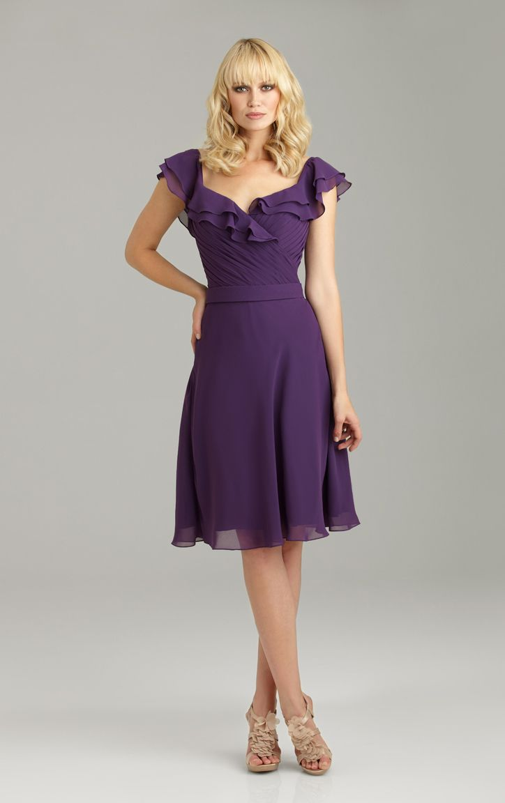 142 best bridesmaid dresses images on pinterest bride maid this bridesmaids dress features ruffled cap sleeves that cascade across the shoulders and down to a deep v in the back ombrellifo Gallery